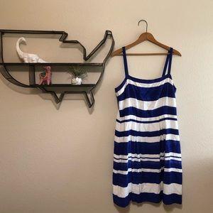 Loft blue and white striped dress